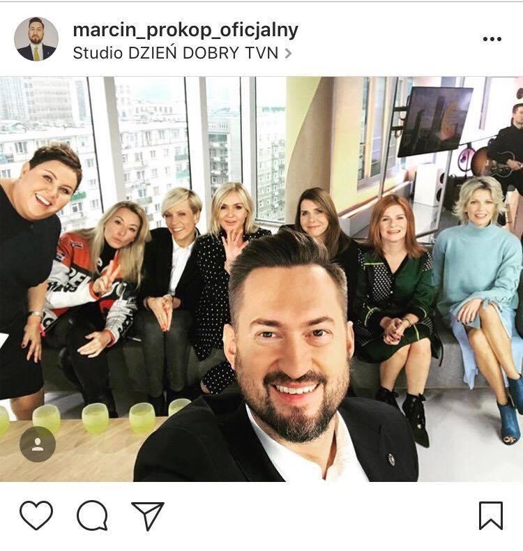 Studio Dzień Dobry TVN printsreen instagram @marcin_prokop_oficjalny