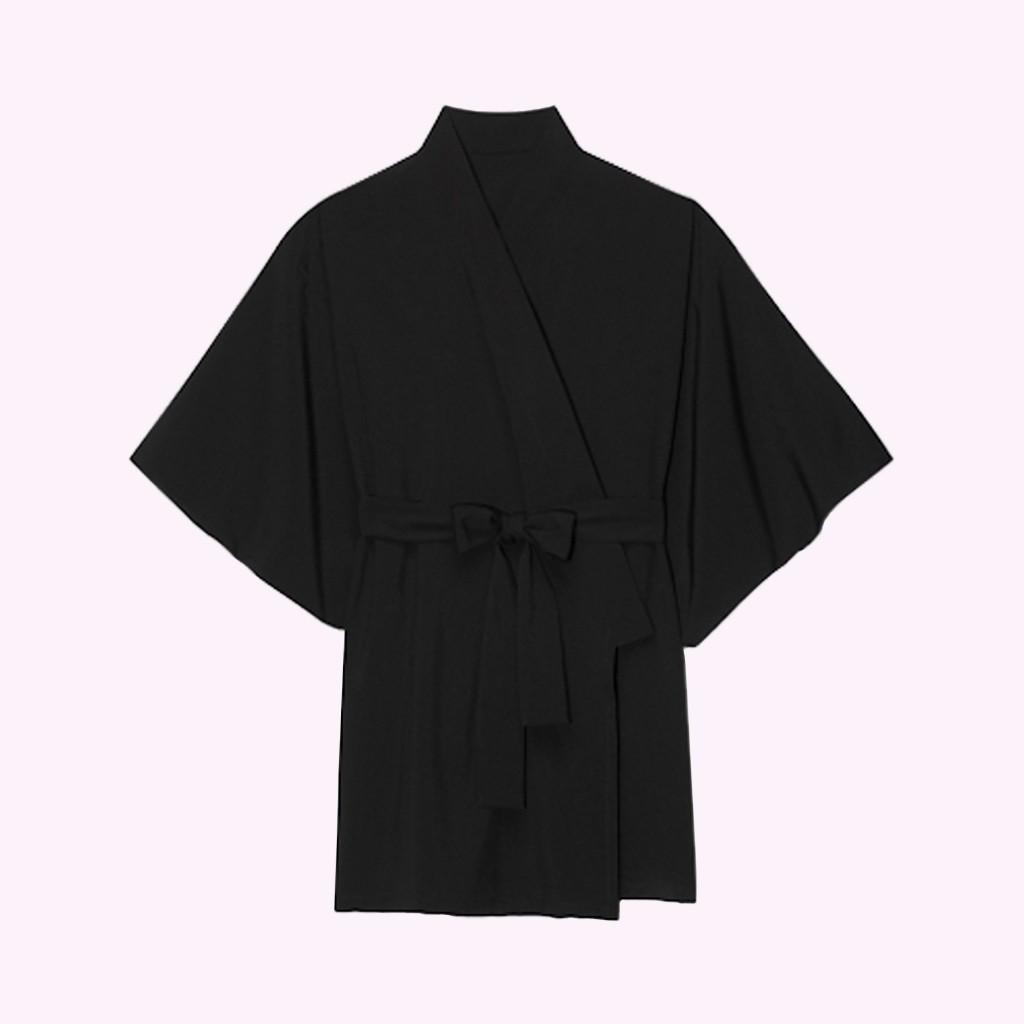 Jedwabne kimono wiązane w pasie zdj. Le Petit Trou