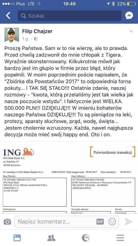 screen z profilu FB Filipa Chajzera