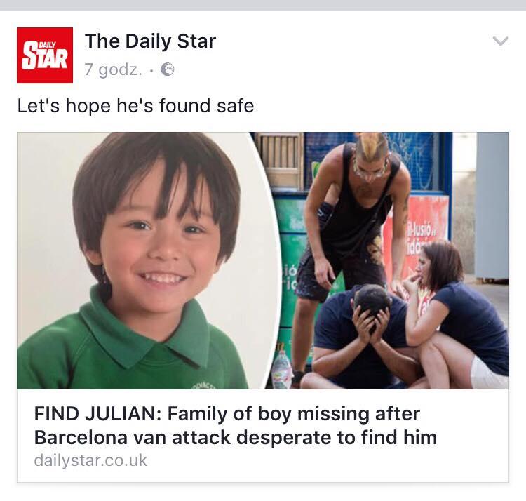 Zamach z Barcelonie/zdjęcie Facebook/ Daily Star